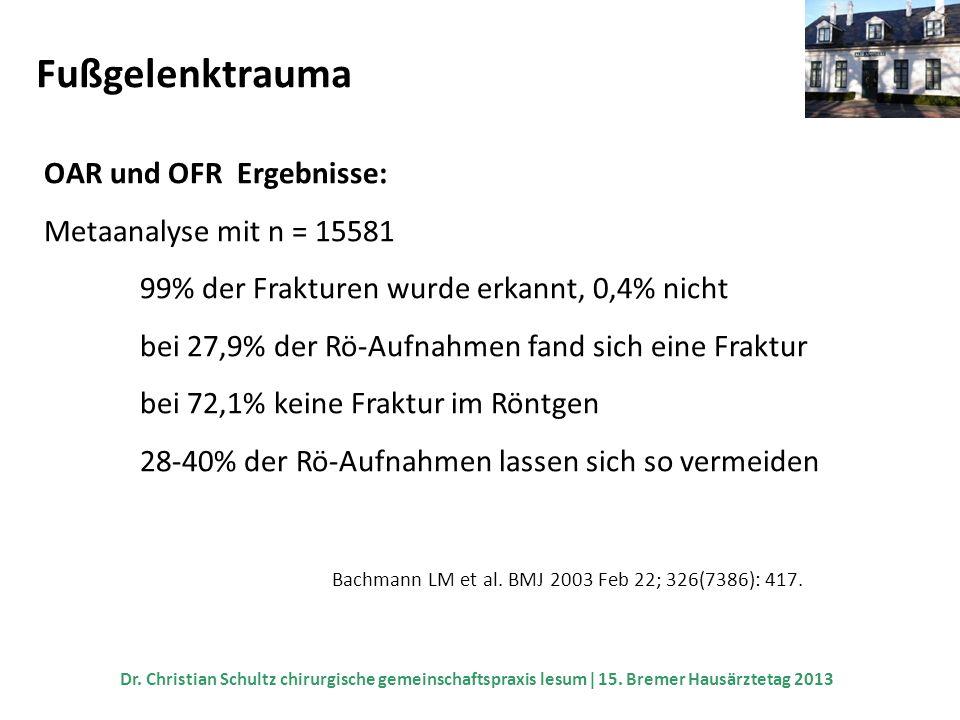 Fußgelenktrauma OAR und OFR Ergebnisse: Metaanalyse mit n = 15581 99% der Frakturen wurde erkannt, 0,4% nicht bei 27,9% der Rö-Aufnahmen fand sich ein