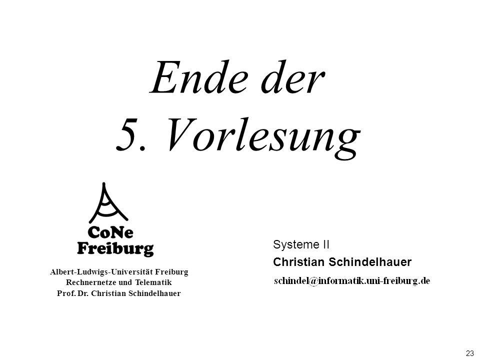 23 Albert-Ludwigs-Universität Freiburg Rechnernetze und Telematik Prof. Dr. Christian Schindelhauer Ende der 5. Vorlesung Systeme II Christian Schinde