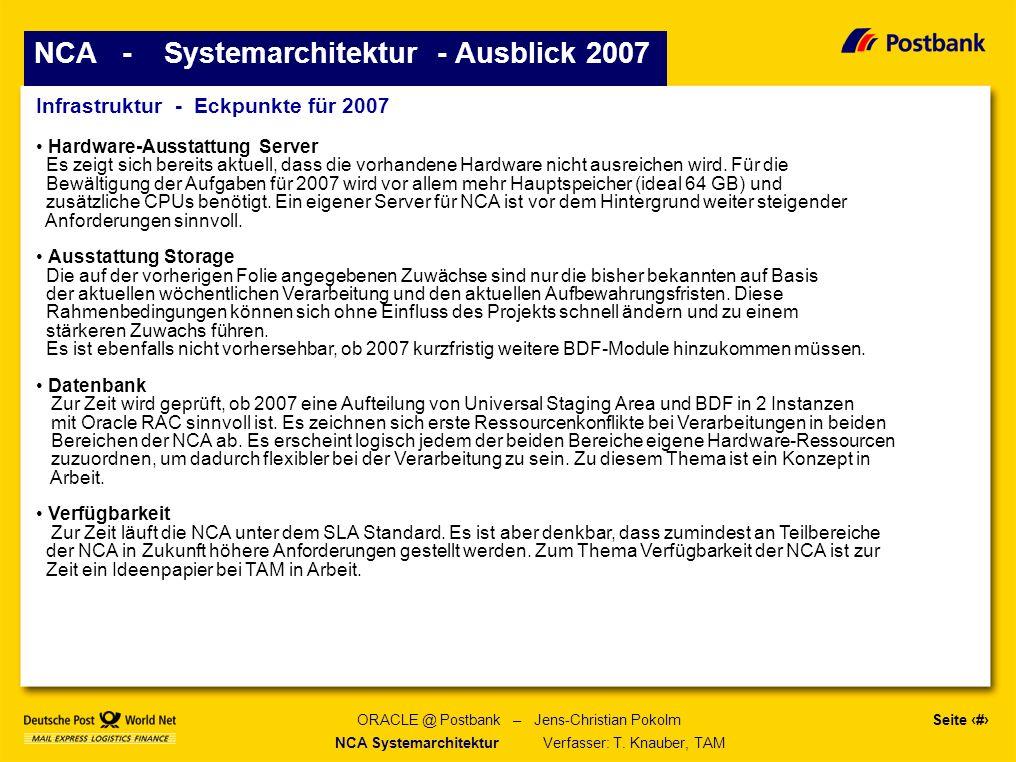 Seite 21 ORACLE @ Postbank – Jens-Christian Pokolm NCA - Systemarchitektur - Ausblick 2007 Infrastruktur - Eckpunkte für 2007 Hardware-Ausstattung Server Es zeigt sich bereits aktuell, dass die vorhandene Hardware nicht ausreichen wird.