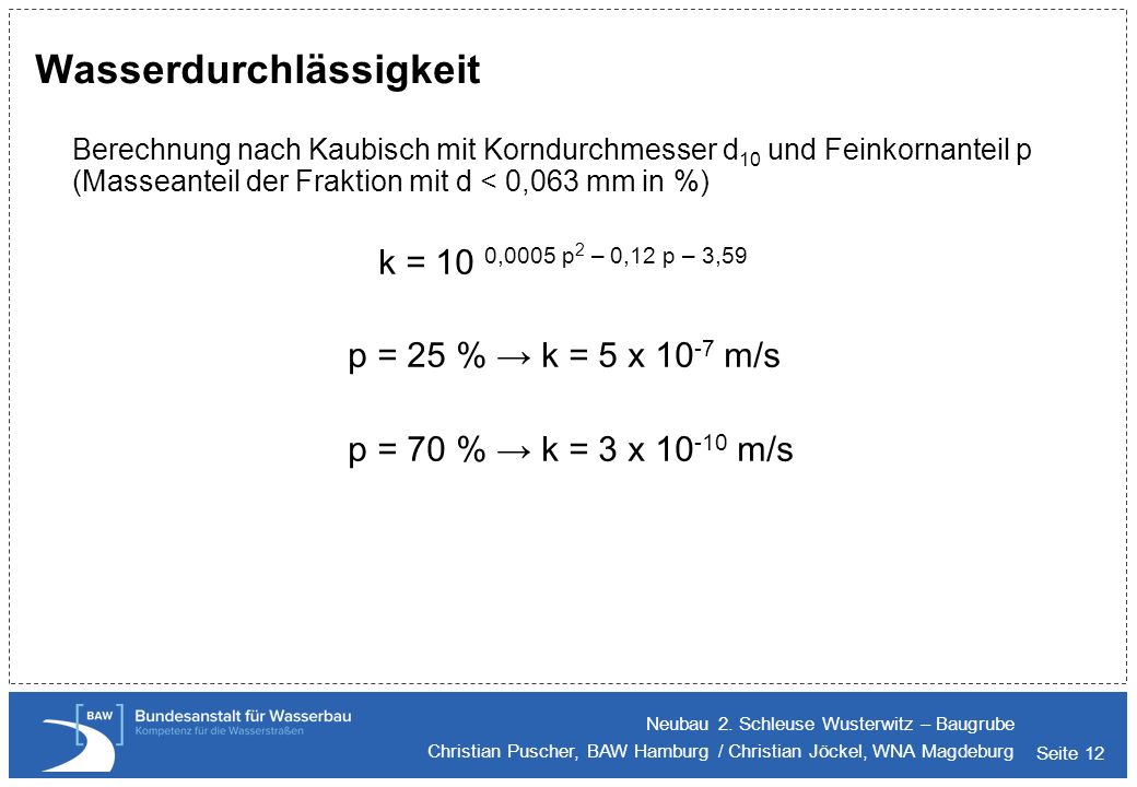 Seite 12 Wasserdurchlässigkeit Berechnung nach Kaubisch mit Korndurchmesser d 10 und Feinkornanteil p (Masseanteil der Fraktion mit d < 0,063 mm in %)