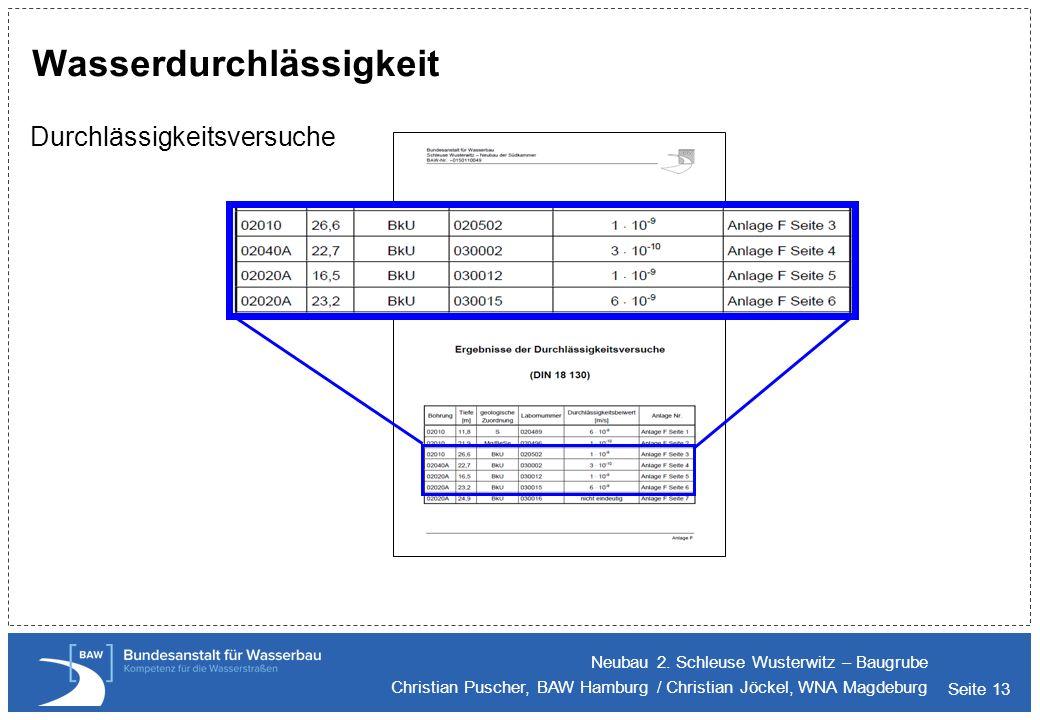 Seite 13 Wasserdurchlässigkeit Durchlässigkeitsversuche Neubau 2. Schleuse Wusterwitz – Baugrube Christian Puscher, BAW Hamburg / Christian Jöckel, WN