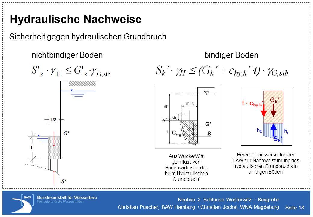 Seite 18 Hydraulische Nachweise Sicherheit gegen hydraulischen Grundbruch Neubau 2. Schleuse Wusterwitz – Baugrube Christian Puscher, BAW Hamburg / Ch