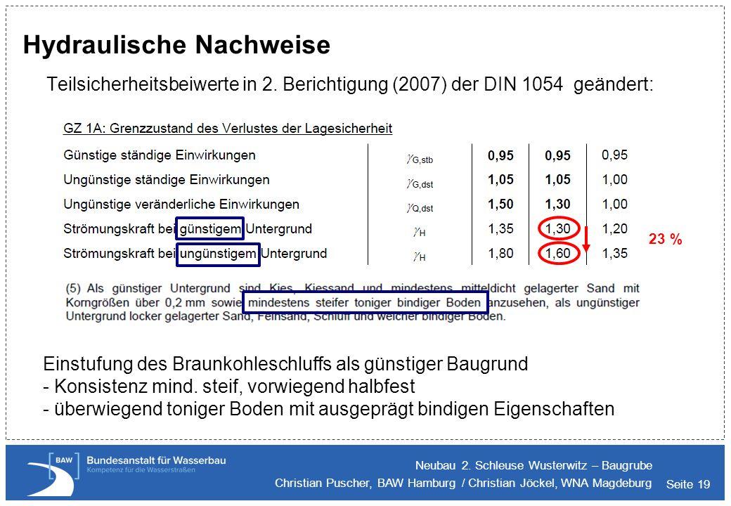 Seite 19 Hydraulische Nachweise Teilsicherheitsbeiwerte in 2. Berichtigung (2007) der DIN 1054 geändert: Neubau 2. Schleuse Wusterwitz – Baugrube Chri