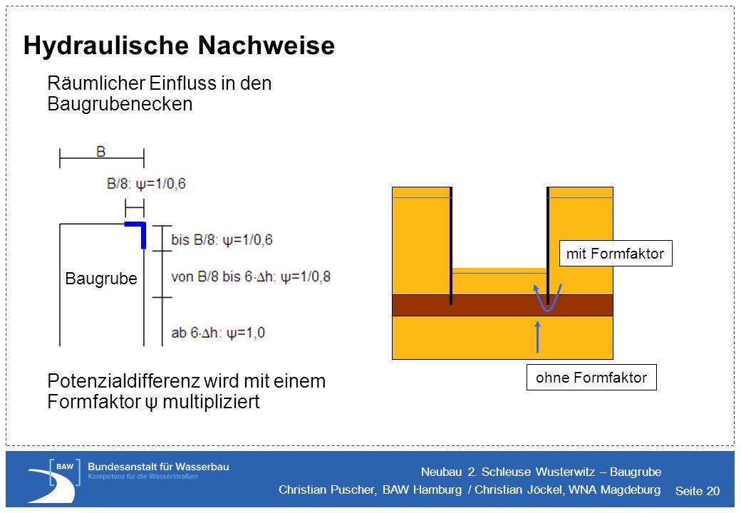 Seite 20 Hydraulische Nachweise Räumlicher Einfluss in den Baugrubenecken Potenzialdifferenz wird mit einem Formfaktor ψ multipliziert Neubau 2. Schle