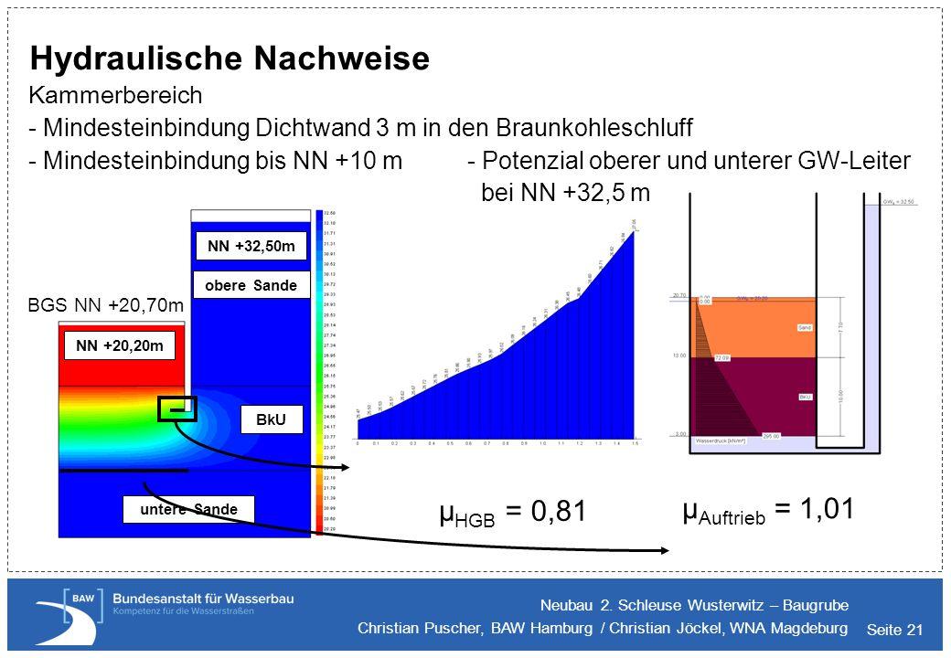 Seite 21 Hydraulische Nachweise Kammerbereich - Mindesteinbindung Dichtwand 3 m in den Braunkohleschluff - Mindesteinbindung bis NN +10 m - Potenzial