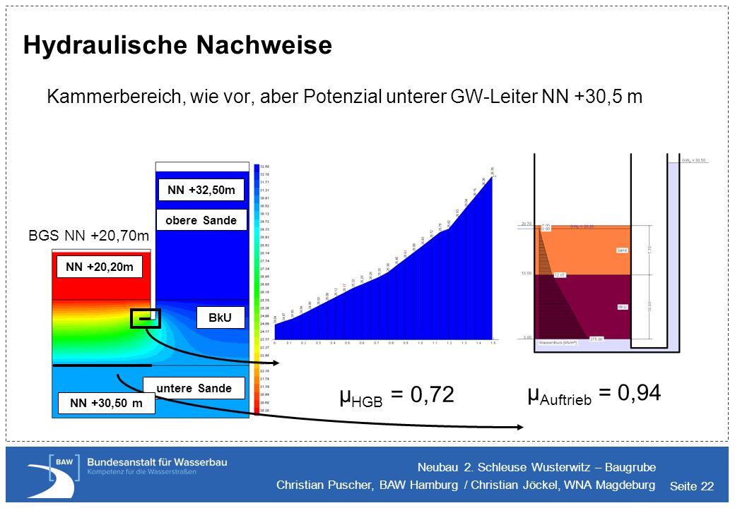 Seite 22 Hydraulische Nachweise Kammerbereich, wie vor, aber Potenzial unterer GW-Leiter NN +30,5 m Neubau 2. Schleuse Wusterwitz – Baugrube Christian
