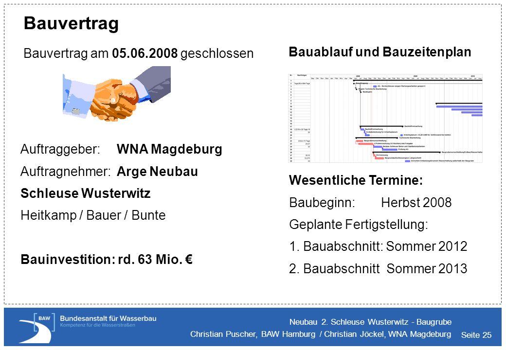 Seite 25 Bauvertrag Neubau 2. Schleuse Wusterwitz - Baugrube Christian Puscher, BAW Hamburg / Christian Jöckel, WNA Magdeburg Bauvertrag am 05.06.2008