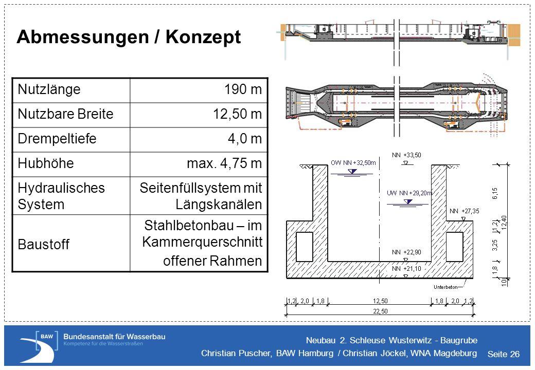 Seite 26 Abmessungen / Konzept Neubau 2. Schleuse Wusterwitz - Baugrube Christian Puscher, BAW Hamburg / Christian Jöckel, WNA Magdeburg Nutzlänge190