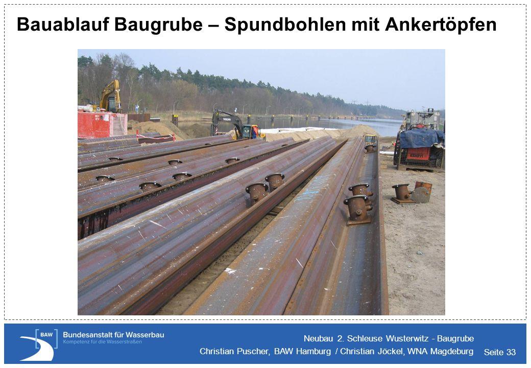 Seite 33 Bauablauf Baugrube – Spundbohlen mit Ankertöpfen Neubau 2. Schleuse Wusterwitz - Baugrube Christian Puscher, BAW Hamburg / Christian Jöckel,