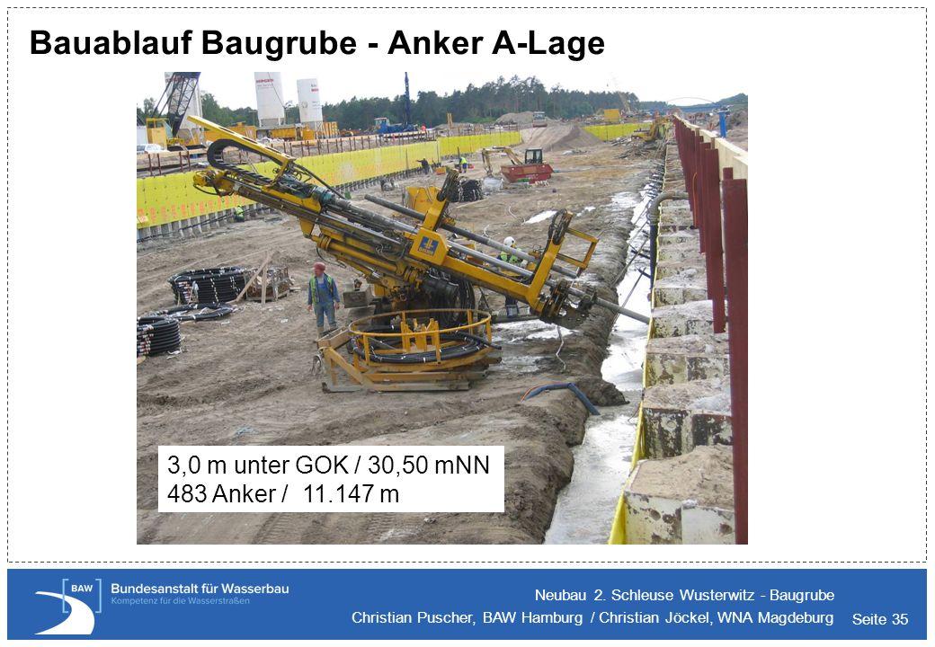 Seite 35 Bauablauf Baugrube - Anker A-Lage Neubau 2. Schleuse Wusterwitz - Baugrube Christian Puscher, BAW Hamburg / Christian Jöckel, WNA Magdeburg 3