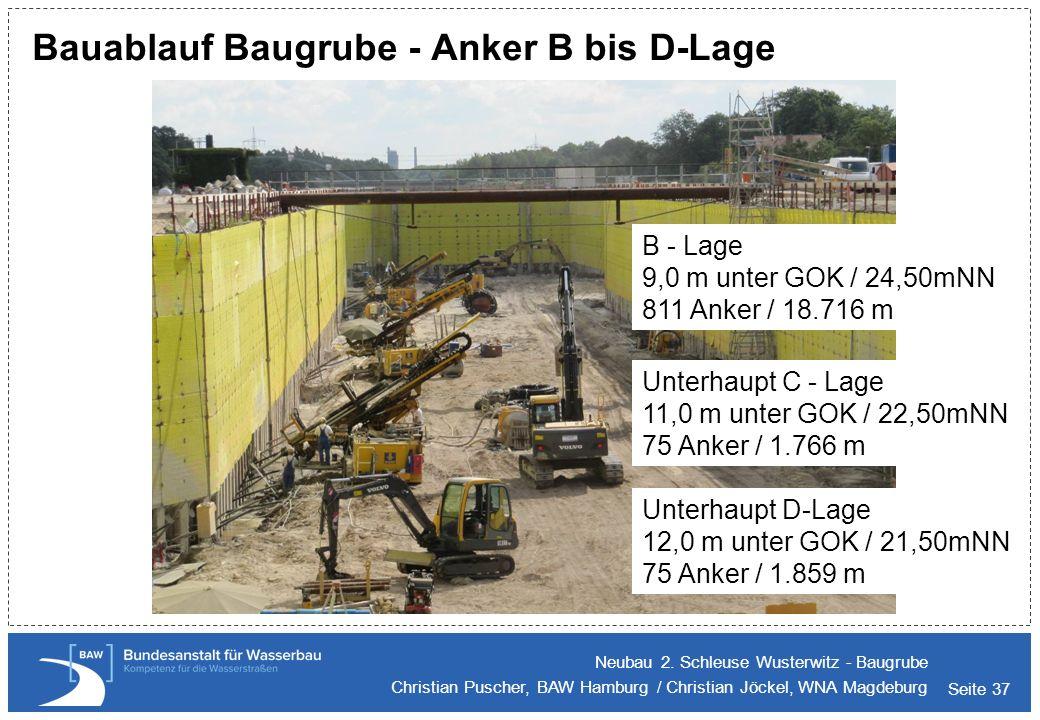 Seite 37 Bauablauf Baugrube - Anker B bis D-Lage Neubau 2. Schleuse Wusterwitz - Baugrube Christian Puscher, BAW Hamburg / Christian Jöckel, WNA Magde