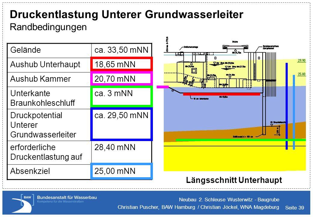 Seite 39 Druckentlastung Unterer Grundwasserleiter Randbedingungen Neubau 2. Schleuse Wusterwitz - Baugrube Christian Puscher, BAW Hamburg / Christian