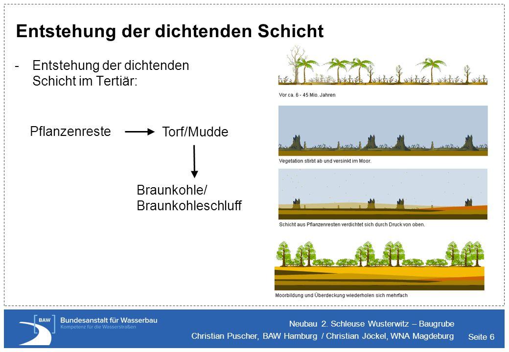 Seite 6 -Entstehung der dichtenden Schicht im Tertiär: Entstehung der dichtenden Schicht Neubau 2. Schleuse Wusterwitz – Baugrube Christian Puscher, B
