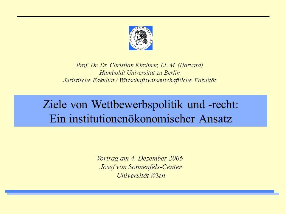 Christian KirchnerWettbewerbspolitik-Ziele /Wien2 1.Vorweg 2.Einführung 3.Der verstärkt ökonomische Ansatz (more economic approach) 4.Konsumentenwohlfahrt vs.