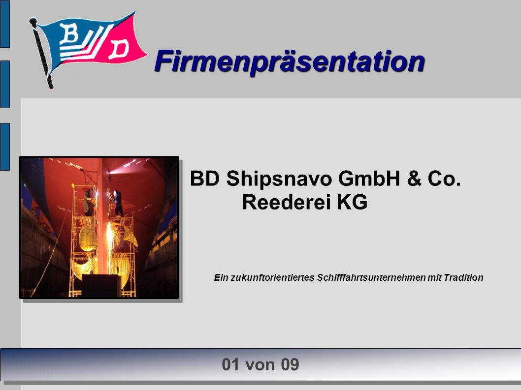 Firmenpräsentation Firmenpräsentation 01 von 09 BD Shipsnavo GmbH & Co. Reederei KG Ein zukunftorientiertes Schifffahrtsunternehmen mit Tradition
