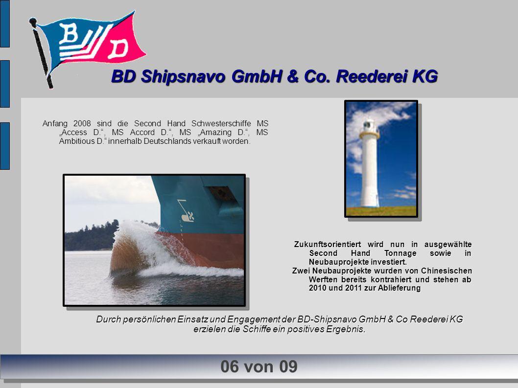 Anfang 2008 sind die Second Hand Schwesterschiffe MS Access D., MS Accord D., MS Amazing D., MS Ambitious D. innerhalb Deutschlands verkauft worden. D