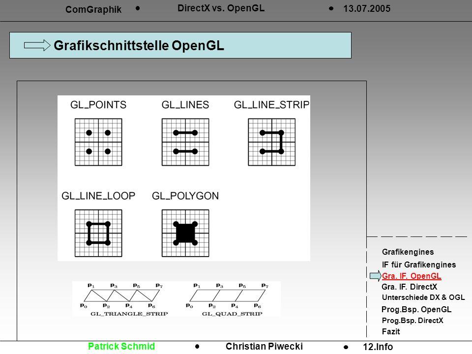 Grafikschnittstelle OpenGL ComGraphik DirectX vs. OpenGL 13.07.2005 Grafikengines IF für Grafikengines Gra. IF. OpenGL Gra. IF. DirectX Unterschiede D