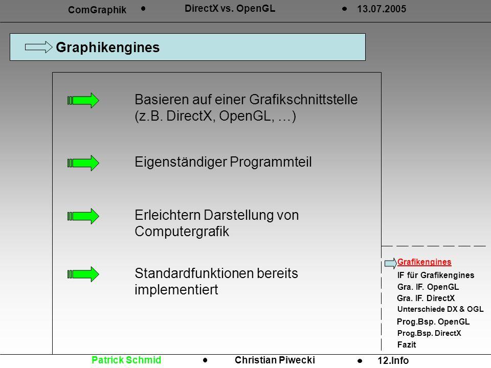 Graphikengines Grafikengines IF für Grafikengines Gra. IF. OpenGL Gra. IF. DirectX Unterschiede DX & OGL Prog.Bsp. OpenGL Prog.Bsp. DirectX Fazit ComG