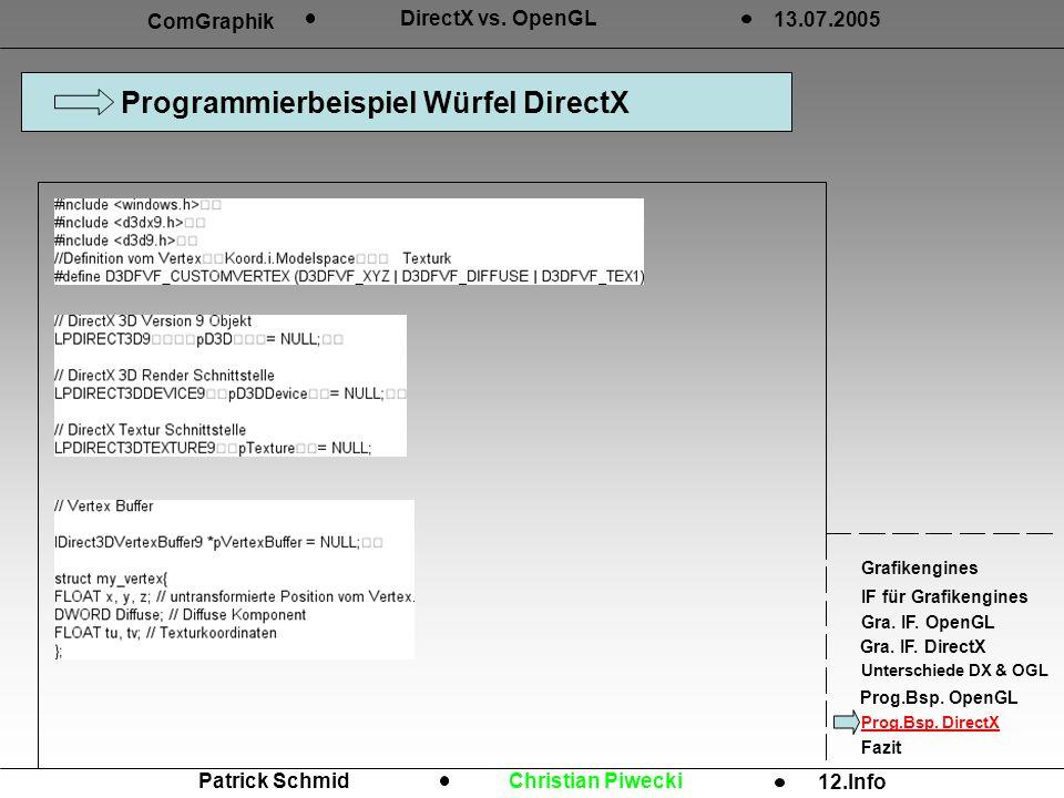Programmierbeispiel Würfel DirectX ComGraphik DirectX vs. OpenGL 13.07.2005 Grafikengines IF für Grafikengines Gra. IF. OpenGL Gra. IF. DirectX Unters
