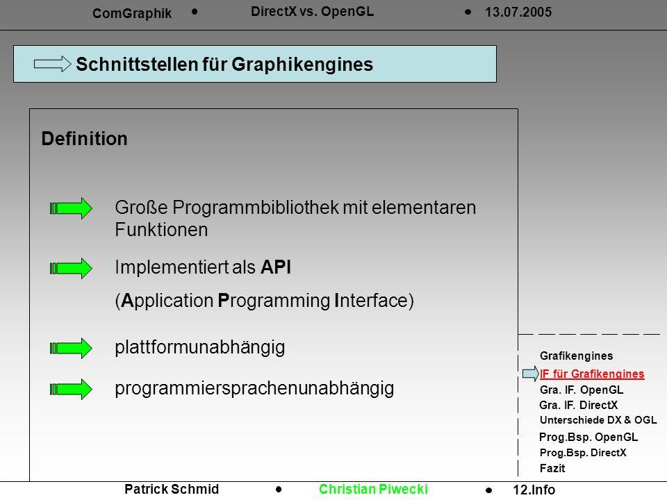 Schnittstellen für Graphikengines ComGraphik DirectX vs.