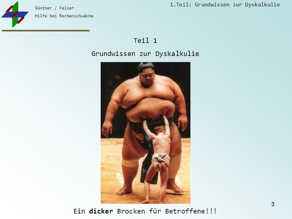 Günther / Felser Hilfe bei Rechenschwäche 1.Teil: Grundwissen zur Dyskalkulie 3 Teil 1 Grundwissen zur Dyskalkulie Ein dicker Brocken für Betroffene!!!