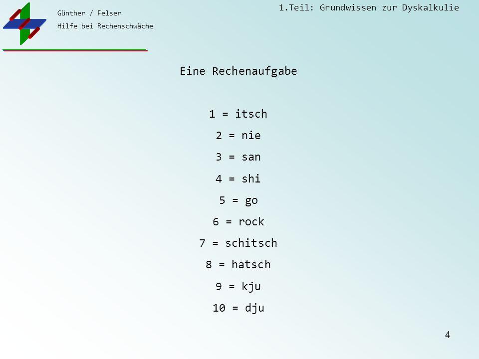 Günther / Felser Hilfe bei Rechenschwäche 1.Teil: Grundwissen zur Dyskalkulie 4 Eine Rechenaufgabe 1 = itsch 2 = nie 3 = san 4 = shi 5 = go 6 = rock 7 = schitsch 8 = hatsch 9 = kju 10 = dju