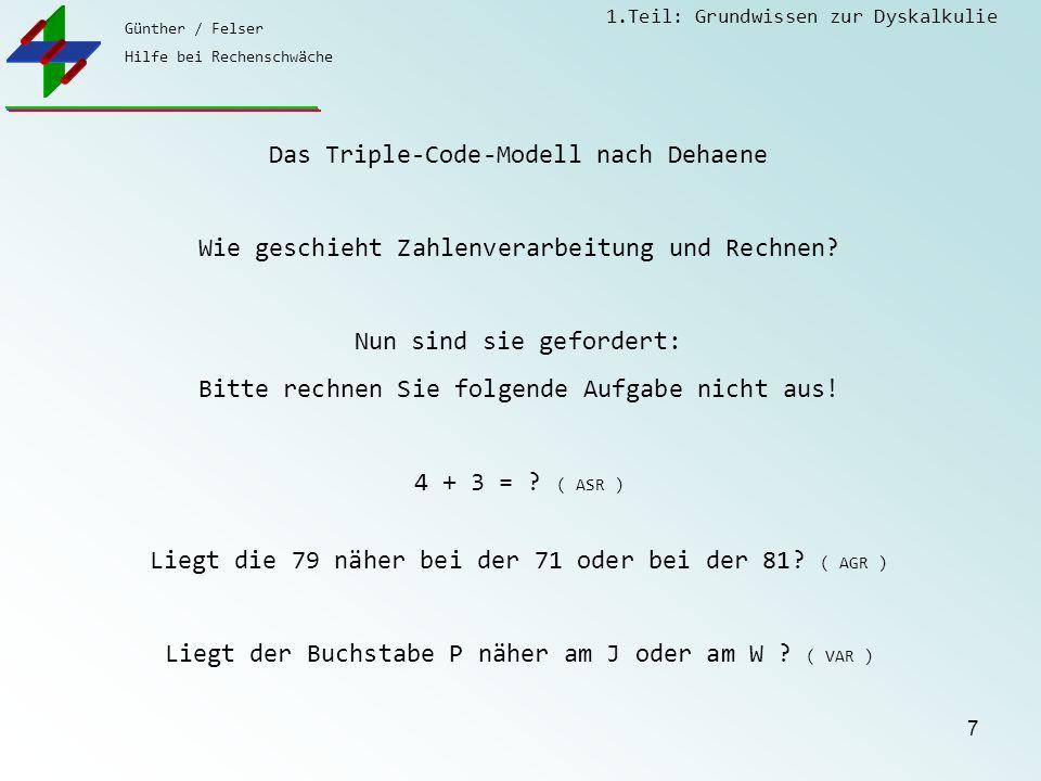 Günther / Felser Hilfe bei Rechenschwäche 1.Teil: Grundwissen zur Dyskalkulie 7 Das Triple-Code-Modell nach Dehaene Wie geschieht Zahlenverarbeitung und Rechnen.