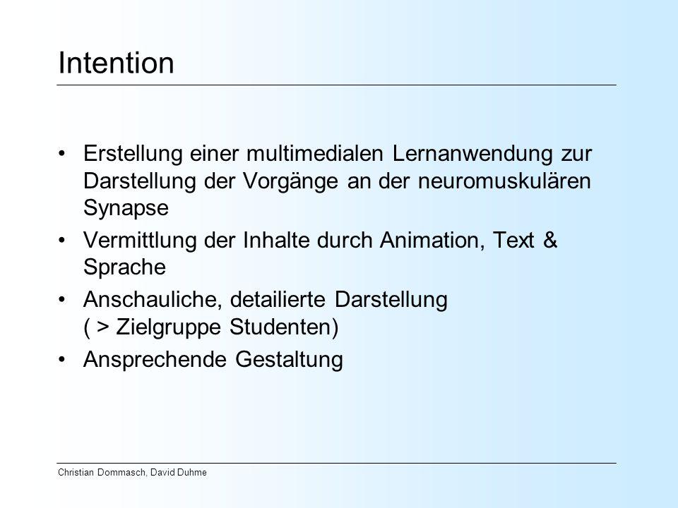 Intention Erstellung einer multimedialen Lernanwendung zur Darstellung der Vorgänge an der neuromuskulären Synapse Vermittlung der Inhalte durch Anima