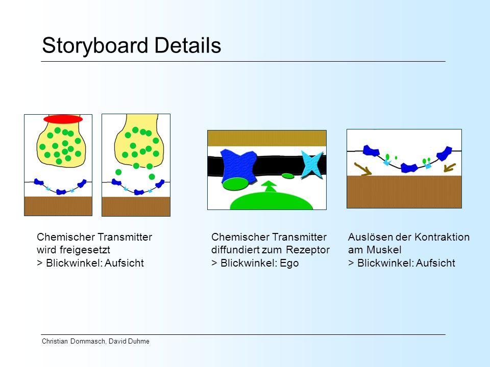 Christian Dommasch, David Duhme Storyboard Details Chemischer Transmitter wird freigesetzt > Blickwinkel: Aufsicht Chemischer Transmitter diffundiert