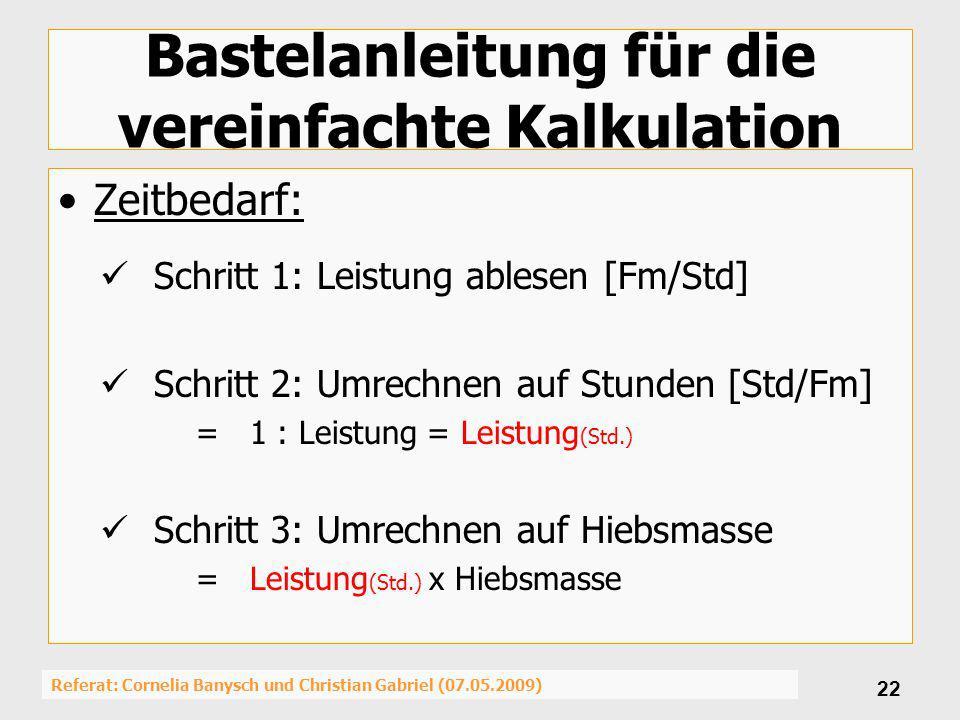 Referat: Cornelia Banysch und Christian Gabriel (07.05.2009) 22 Bastelanleitung für die vereinfachte Kalkulation Zeitbedarf: Schritt 1: Leistung ables