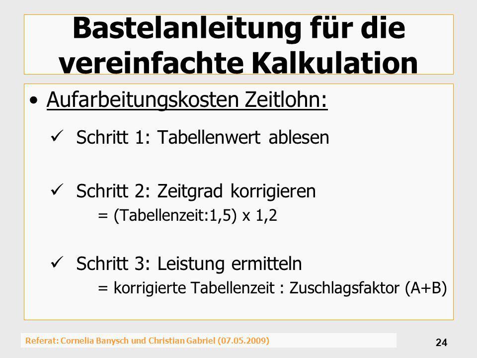 Referat: Cornelia Banysch und Christian Gabriel (07.05.2009) 24 Bastelanleitung für die vereinfachte Kalkulation Aufarbeitungskosten Zeitlohn: Schritt