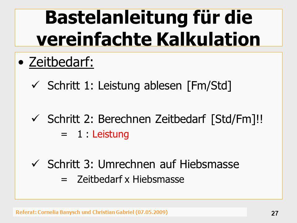 Referat: Cornelia Banysch und Christian Gabriel (07.05.2009) 27 Bastelanleitung für die vereinfachte Kalkulation Zeitbedarf: Schritt 1: Leistung ables