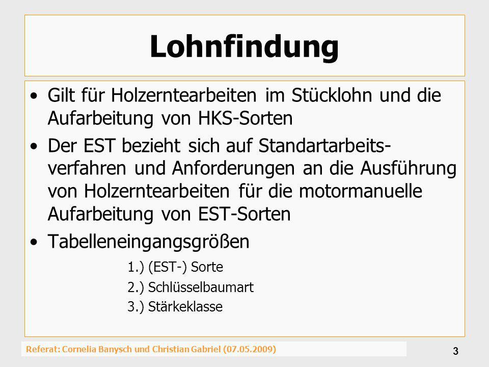 Referat: Cornelia Banysch und Christian Gabriel (07.05.2009) 3 Lohnfindung Gilt für Holzerntearbeiten im Stücklohn und die Aufarbeitung von HKS-Sorten