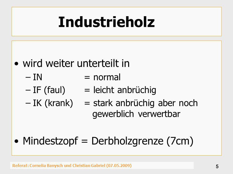 Referat: Cornelia Banysch und Christian Gabriel (07.05.2009) 6 Industrieholz lang (IL) Unterscheidung nach Lage im Baum und Art der Aushaltung –(B) Baumfallende Länge (>7-20m) ->Ganzer Baum IL –(K) Kranlänge Baum (3-7m) ->Ganzer Baum Kranlängen –(W) Kranlänge Wipfel/Krone (3-7m) ->Erdstamm zu Sth.