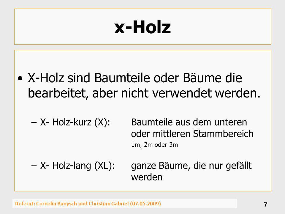 Referat: Cornelia Banysch und Christian Gabriel (07.05.2009) 7 x-Holz X-Holz sind Baumteile oder Bäume die bearbeitet, aber nicht verwendet werden. –X