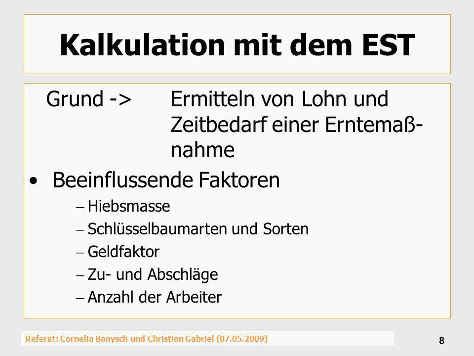 Referat: Cornelia Banysch und Christian Gabriel (07.05.2009) 8 Kalkulation mit dem EST Grund ->Ermitteln von Lohn und Zeitbedarf einer Erntemaß- nahme