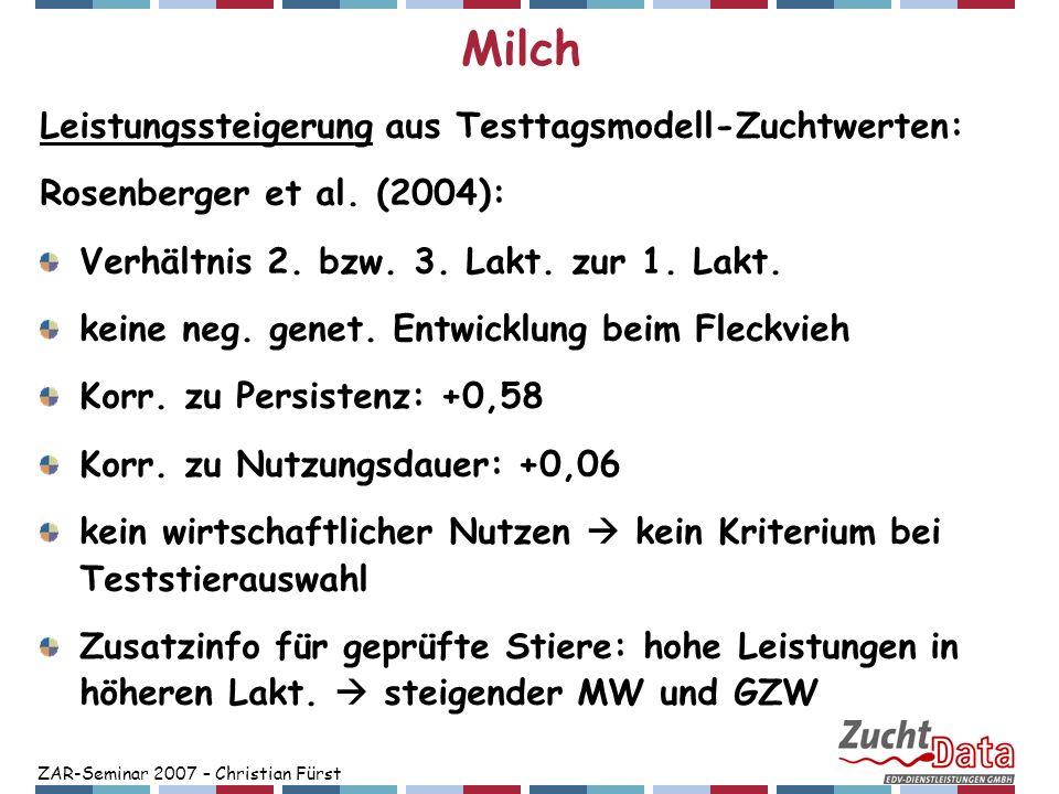 ZAR-Seminar 2007 – Christian Fürst Milch Leistungssteigerung aus Testtagsmodell-Zuchtwerten: Rosenberger et al. (2004): Verhältnis 2. bzw. 3. Lakt. zu