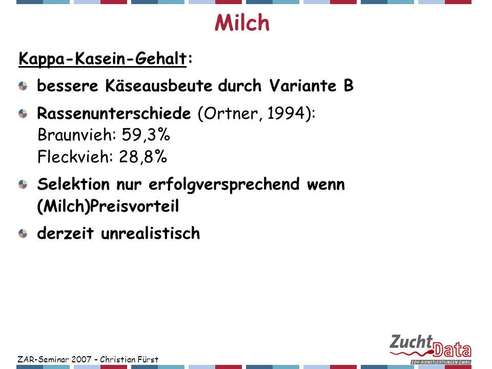 ZAR-Seminar 2007 – Christian Fürst Milch Kappa-Kasein-Gehalt: bessere Käseausbeute durch Variante B Rassenunterschiede (Ortner, 1994): Braunvieh: 59,3