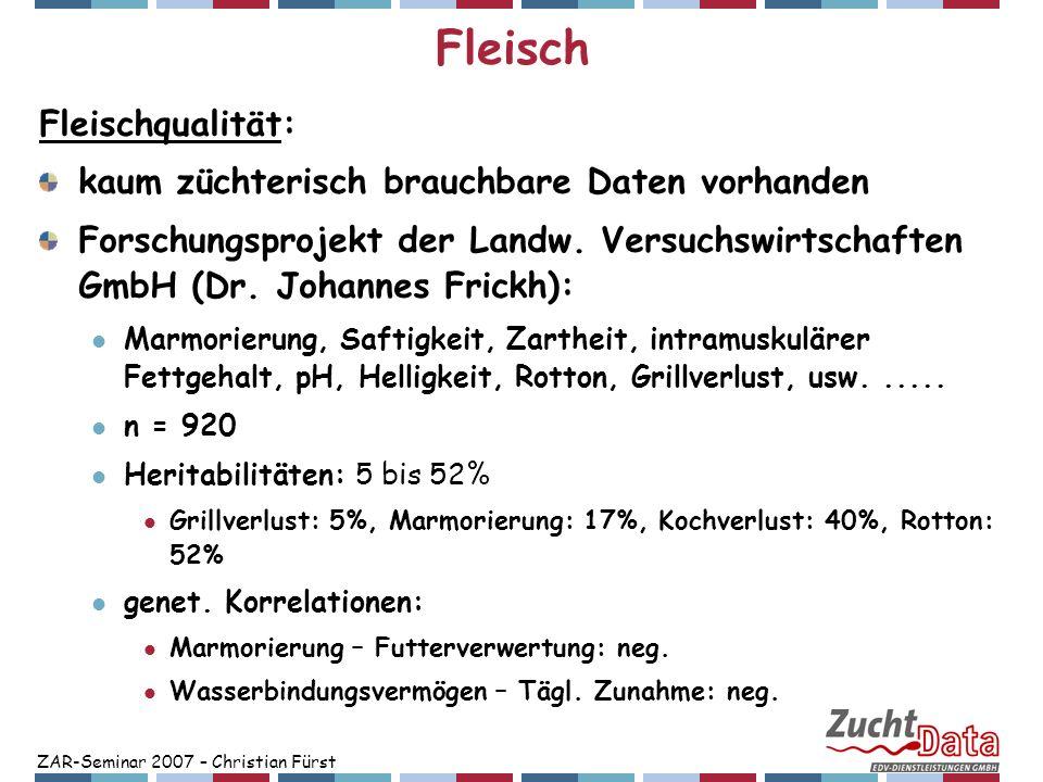 ZAR-Seminar 2007 – Christian Fürst Fleisch Fleischqualität: kaum züchterisch brauchbare Daten vorhanden Forschungsprojekt der Landw. Versuchswirtschaf
