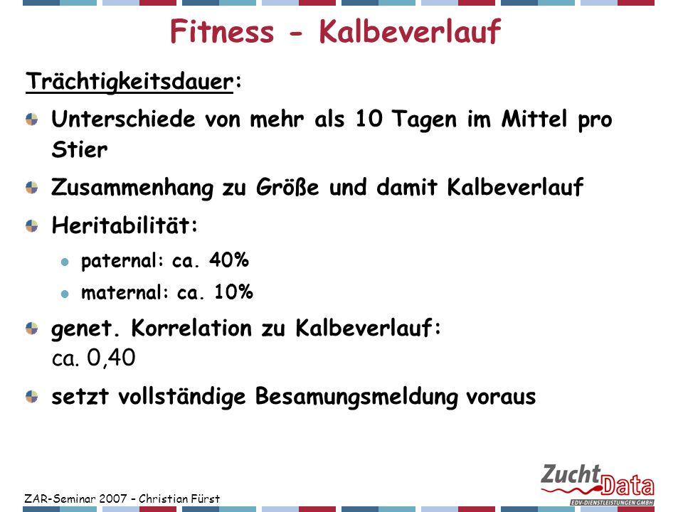 ZAR-Seminar 2007 – Christian Fürst Fitness - Kalbeverlauf Trächtigkeitsdauer: Unterschiede von mehr als 10 Tagen im Mittel pro Stier Zusammenhang zu G