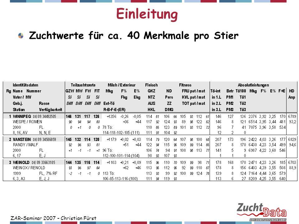 ZAR-Seminar 2007 – Christian Fürst Einleitung Zuchtwerte für ca. 40 Merkmale pro Stier