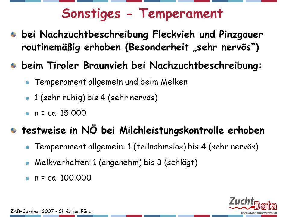ZAR-Seminar 2007 – Christian Fürst Sonstiges - Temperament Heritabilität: Temperament allgemein: 4% Melkverhalten: 5% genet.