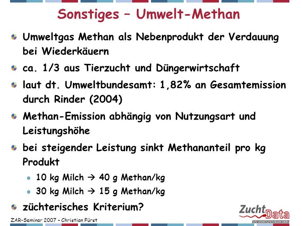 ZAR-Seminar 2007 – Christian Fürst Sonstiges – Umwelt-Methan Umweltgas Methan als Nebenprodukt der Verdauung bei Wiederkäuern ca. 1/3 aus Tierzucht un
