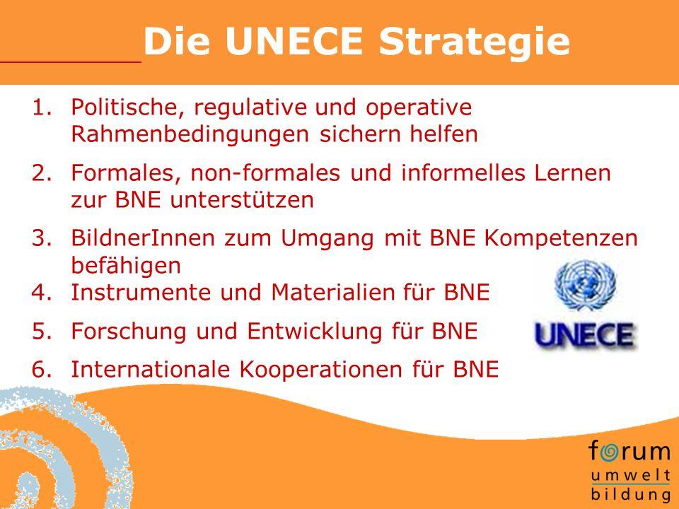 Die UNECE Strategie 1.Politische, regulative und operative Rahmenbedingungen sichern helfen 2.Formales, non-formales und informelles Lernen zur BNE unterstützen 3.BildnerInnen zum Umgang mit BNE Kompetenzen befähigen 4.Instrumente und Materialien für BNE 5.Forschung und Entwicklung für BNE 6.Internationale Kooperationen für BNE