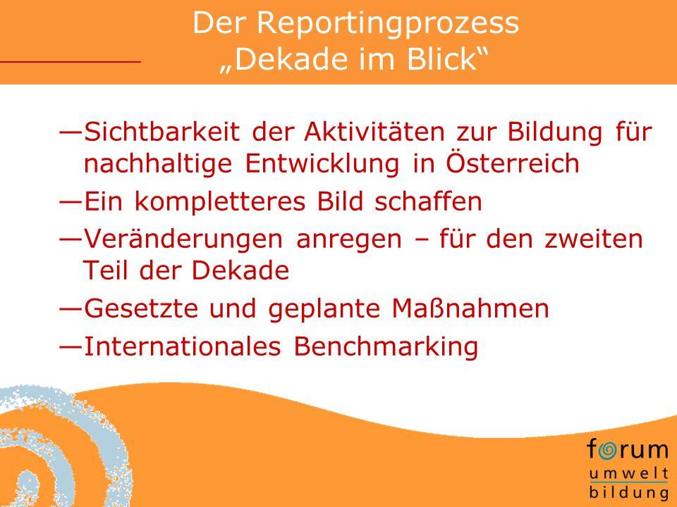 Der Reportingprozess Dekade im Blick Sichtbarkeit der Aktivitäten zur Bildung für nachhaltige Entwicklung in Österreich Ein kompletteres Bild schaffen Veränderungen anregen – für den zweiten Teil der Dekade Gesetzte und geplante Maßnahmen Internationales Benchmarking