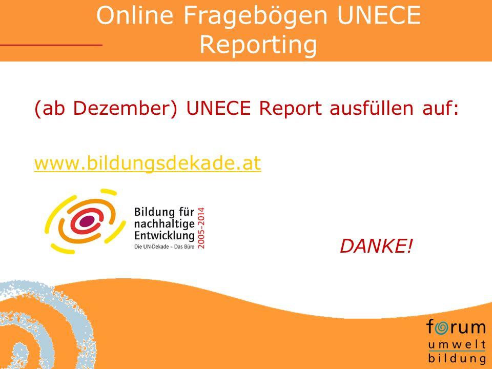 Online Fragebögen UNECE Reporting (ab Dezember) UNECE Report ausfüllen auf: www.bildungsdekade.at DANKE!