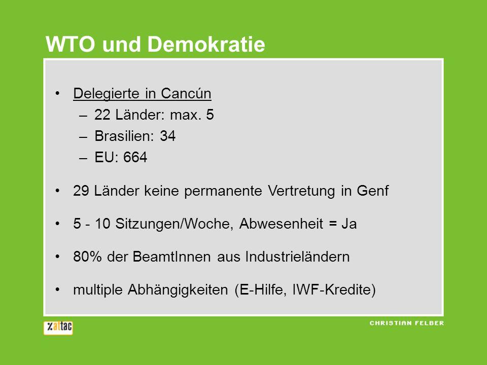WTO und Demokratie Delegierte in Cancún –22 Länder: max. 5 –Brasilien: 34 –EU: 664 29 Länder keine permanente Vertretung in Genf 5 - 10 Sitzungen/Woch