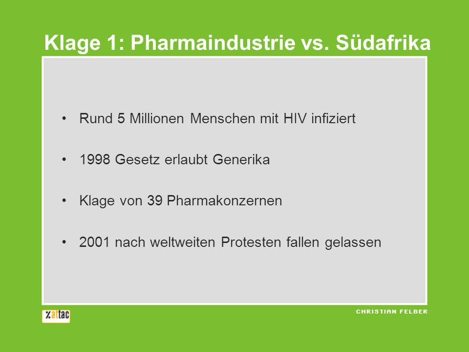 Rund 5 Millionen Menschen mit HIV infiziert 1998 Gesetz erlaubt Generika Klage von 39 Pharmakonzernen 2001 nach weltweiten Protesten fallen gelassen Klage 1: Pharmaindustrie vs.