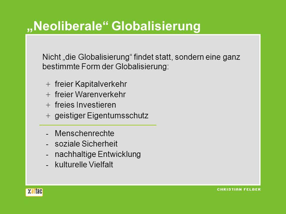 Neoliberale Globalisierung Nicht die Globalisierung findet statt, sondern eine ganz bestimmte Form der Globalisierung: + freier Kapitalverkehr + freier Warenverkehr + freies Investieren + geistiger Eigentumsschutz - Menschenrechte - soziale Sicherheit - nachhaltige Entwicklung - kulturelle Vielfalt