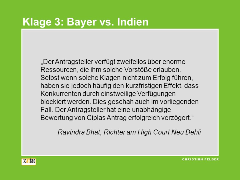 Klage 3: Bayer vs.
